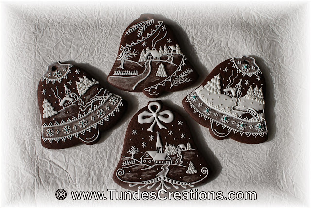 Chocolate gingerbread bell with snowy landscape