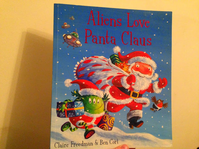 Our Christmas Book Advent tree   Ideas for the Best Children's Books to Buy this Christmas - Aliens love Panta Claus