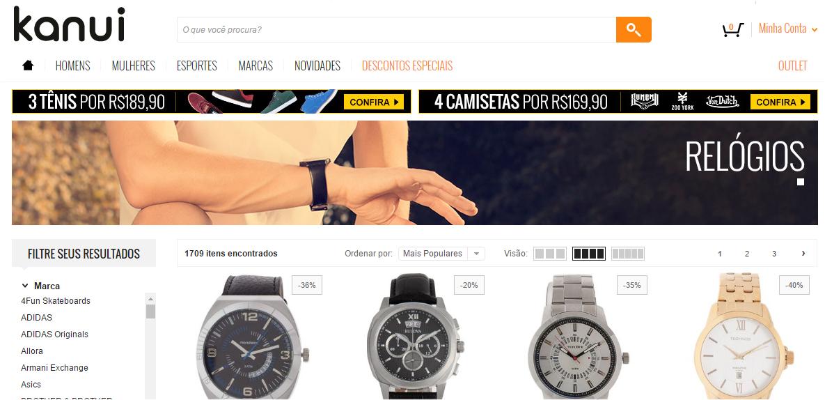 8247457a2 E pra fechar as indicações, a Kanui. Multimarcas que possui MUITOS modelos  de Relógios Masculinos e mais uma opção pra todos os bolsos e gostos.