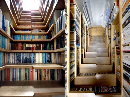 Diseño de escaleras y librero o biblioteca