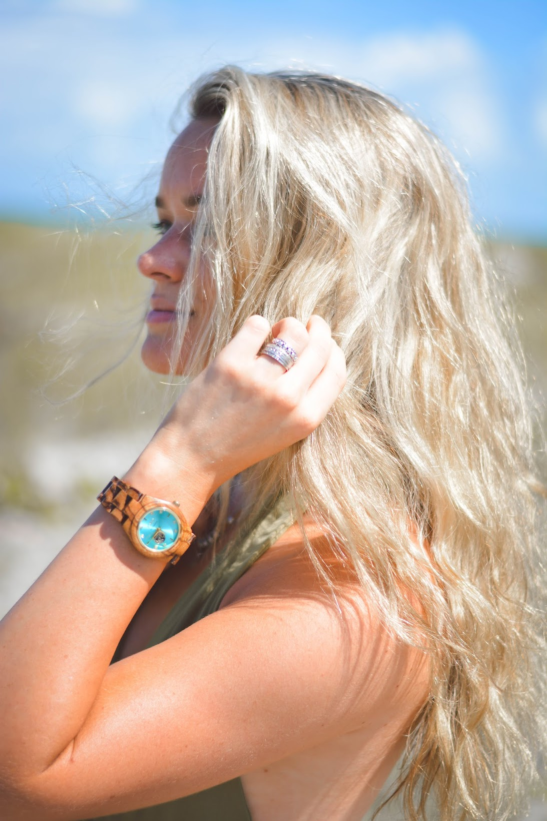Jord Wooden Watch Cora Series Turquoise and Zebrawood Amelia Blaire