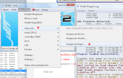 Setelah memilih akhiri, akan muncul 2 jendela, yaitu jendela emulator PCSX 1.4.0 dan jendela Program log. Dan pengaturan BIOS pun selesai.