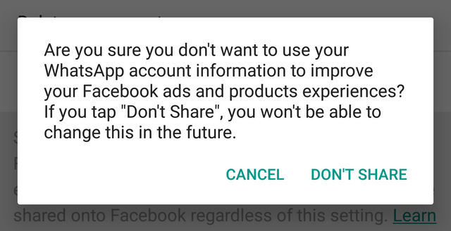 Stop share my WhatsApp account information with Facebook