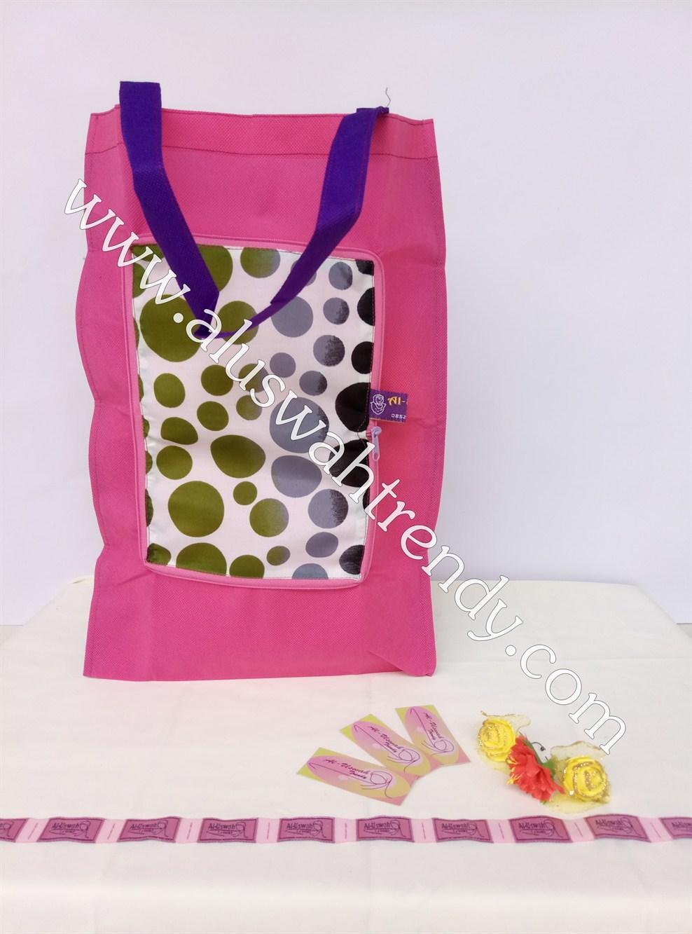 Tas Belanja Lipat Pink Motif Polkadot Warna 06
