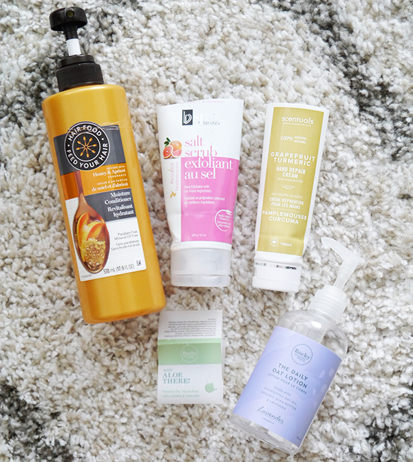 Empty hair and body care products from Hair Food, BV Spa, Scentuals, Rocky Mountain Soap Company