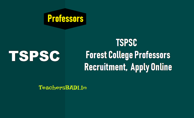 tspsc professors,associate professors,assistant professors recruitment 2018,forest college hall tickets,tspsc professors exam date answer key results,tspsc professors online application form