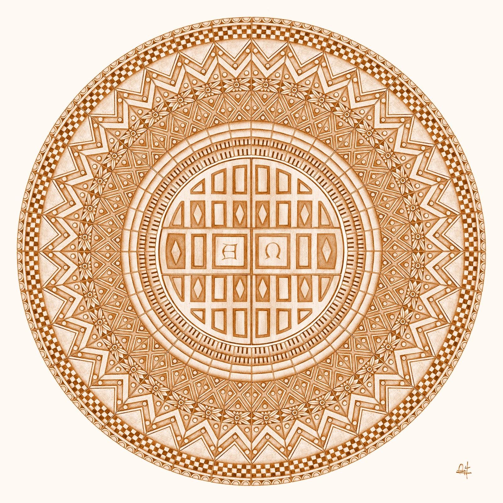 Arabesko Dibujo A Lápiz Mandala Diseño Estilo Románico Pencil