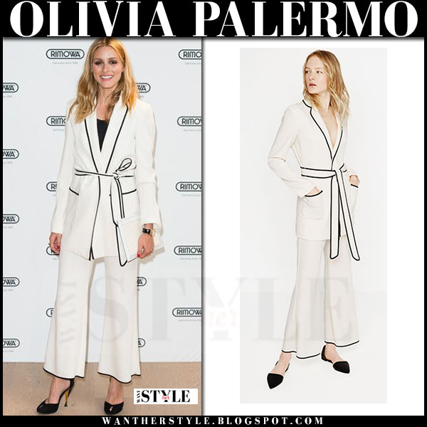 Olivia Palermo in white belted blazer and cropped white trousers zara what she wore