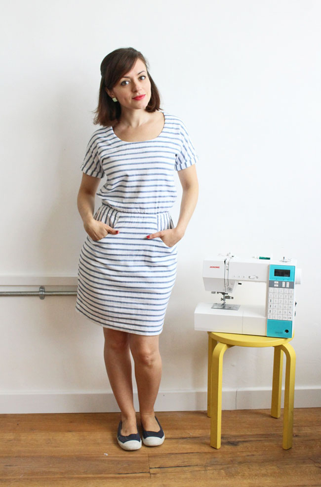 Bettine dress in stripey double gauze - pattern by Tilly and the Buttons