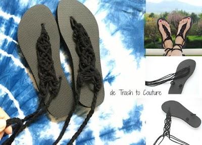 Sandalias flip flops de macrame estilo gladiador