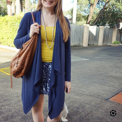 awayfromblue instagram navy waterfall cardigan yellow tanks and shorts for autumn balenciaga day