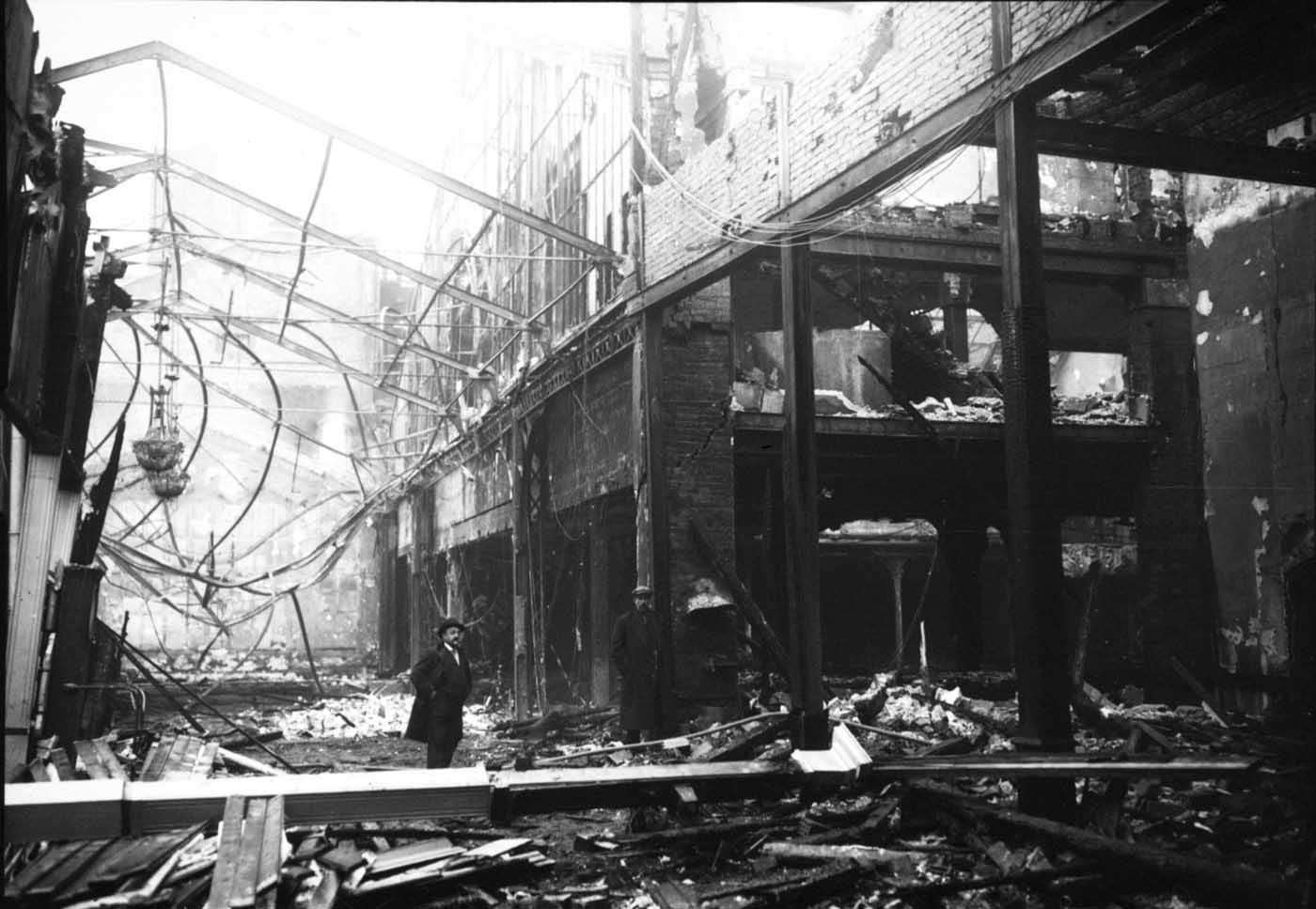 Photo of inside the Moulin Rouge after it was ravaged by a fire in 1915. The rebuilt Moulin Rouge finally reopened in 1921.