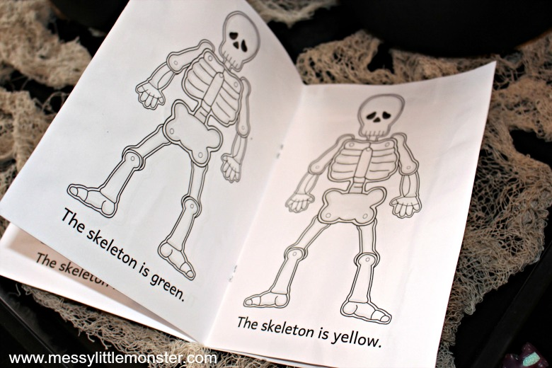 Printable skeleton colouring book activity for kids