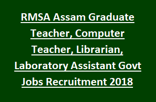 RMSA Assam Graduate Teacher, Computer Teacher, Librarian, Laboratory Assistant Govt Jobs Recruitment 2018 Notification