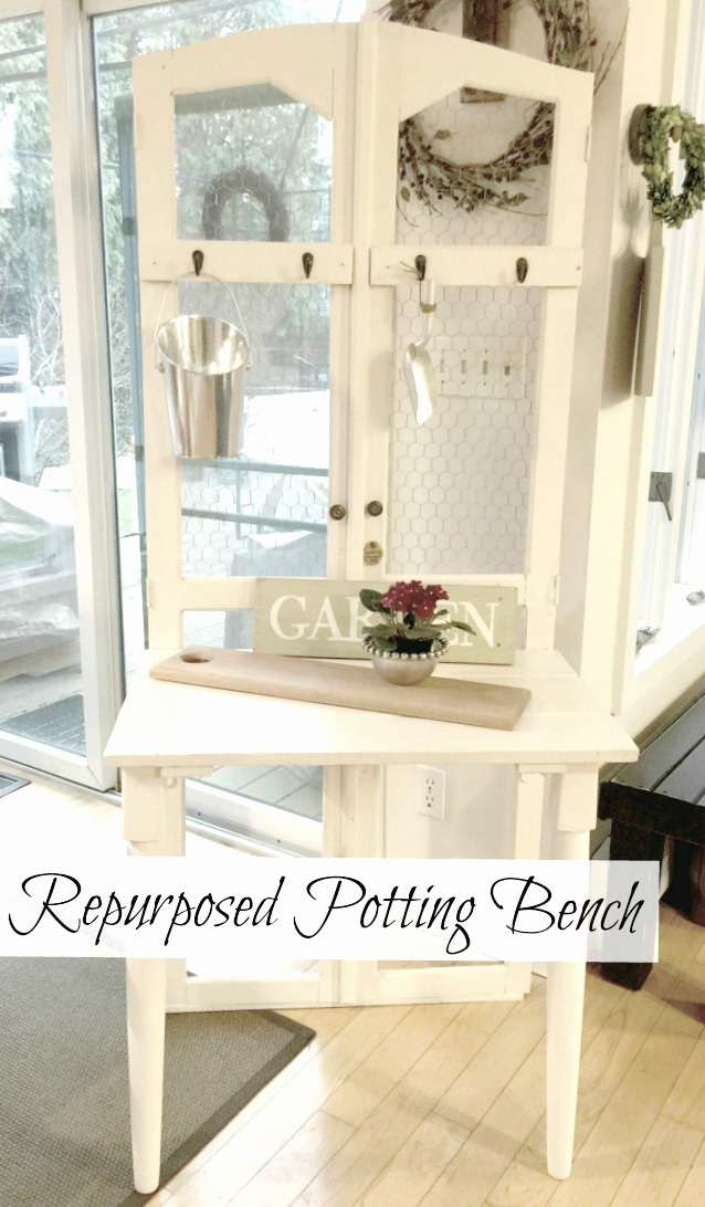 DIY Repurposed Antique Door Potting Bench  www.homeroad.net