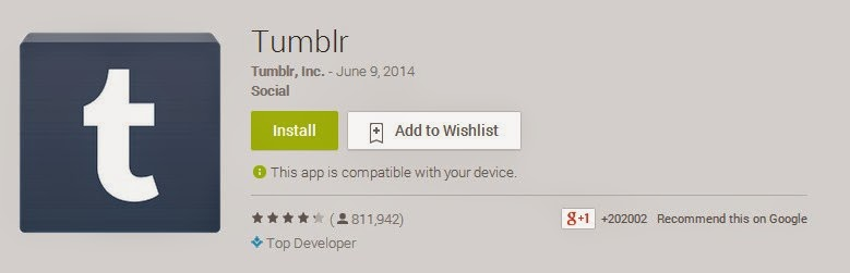 Free Tumblr App for Android Phones on Apps Store