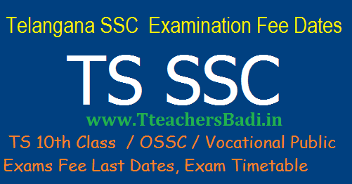 TS 10th/SSC March 2018 Fee Due Dates, Details and Exams Time table bse.telangana.gov.in
