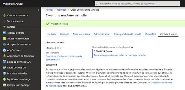 Azure Cloud - Création d'une Machine Virtuelle - Le coût réel