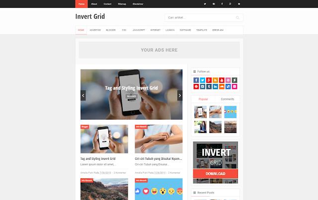 Invert Grid Responsive Blogger Template