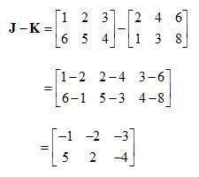 contoh soal matematika matriks pengurangan