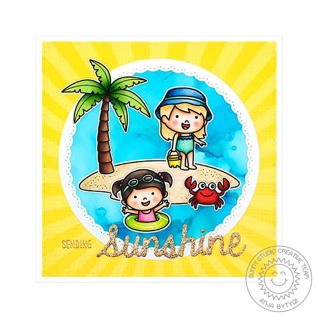 Sunny Studio Stamps: Coastal Cuties Fancy Frames Sending Sunshine Sunshine Word Die Summer Themed Cards by Anja Bytyqi and Vanessa Menhorn