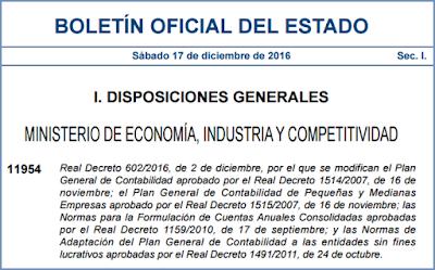 Real Decreto 602/2016, de 2 de diciembre, por el que se modifican el Plan General de Contabilidad