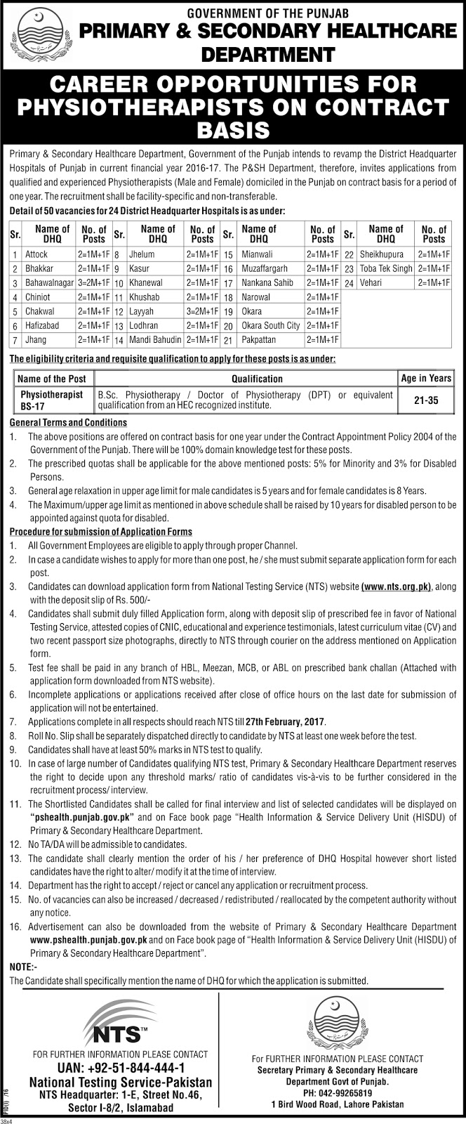 Physiotherapist Jobs in Punjab Healthcare Department