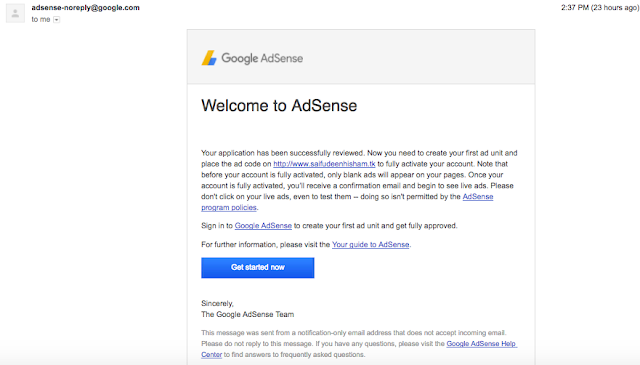 google adsense request approved