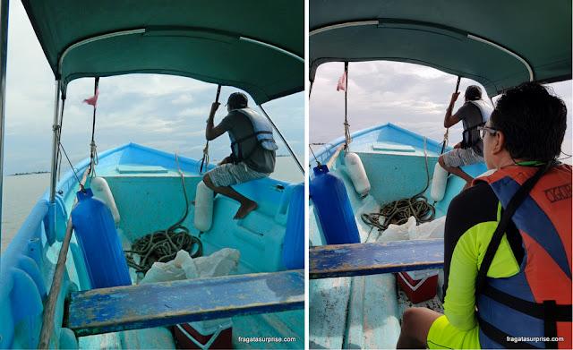 Trajeto de barco para as ilhas de San Blas, Panamá