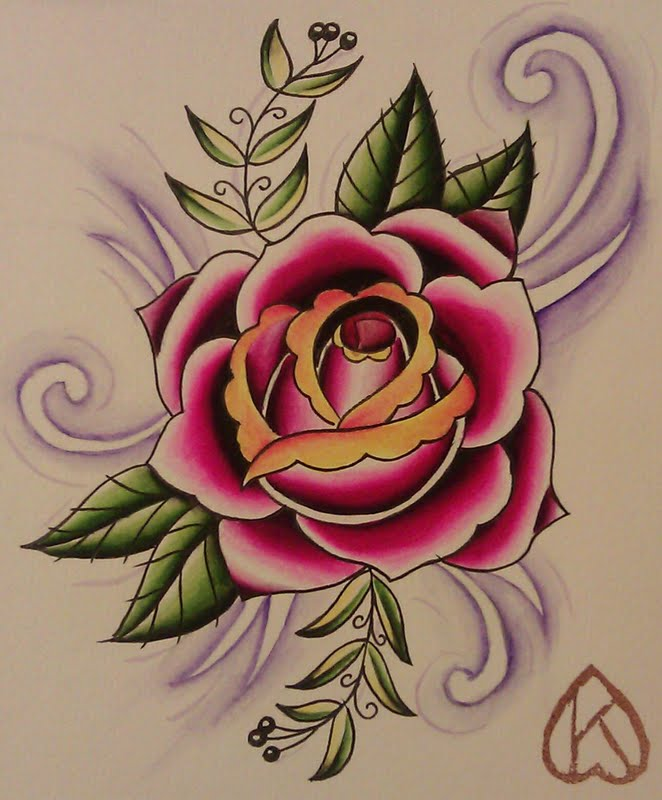 Rose Traditional Tattoo: More Attempts At Traditional Tattoo Flash Style Designs