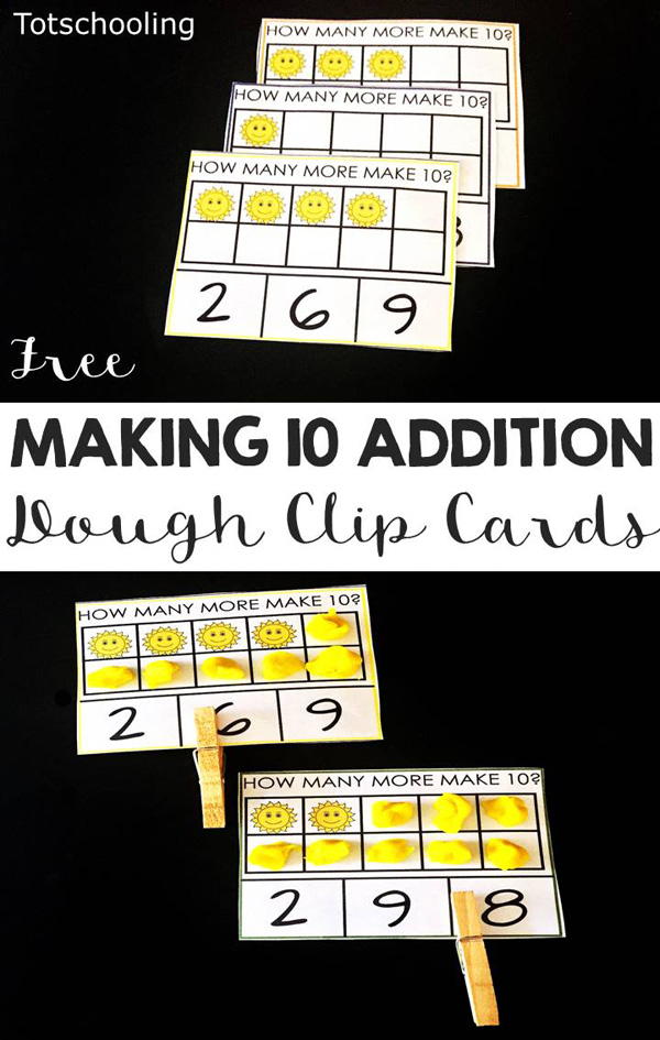 FREE printable Making Ten clip cards for preschool and kindergarten kids to practice counting, number recognition and number sense. Fun and easy math activity.