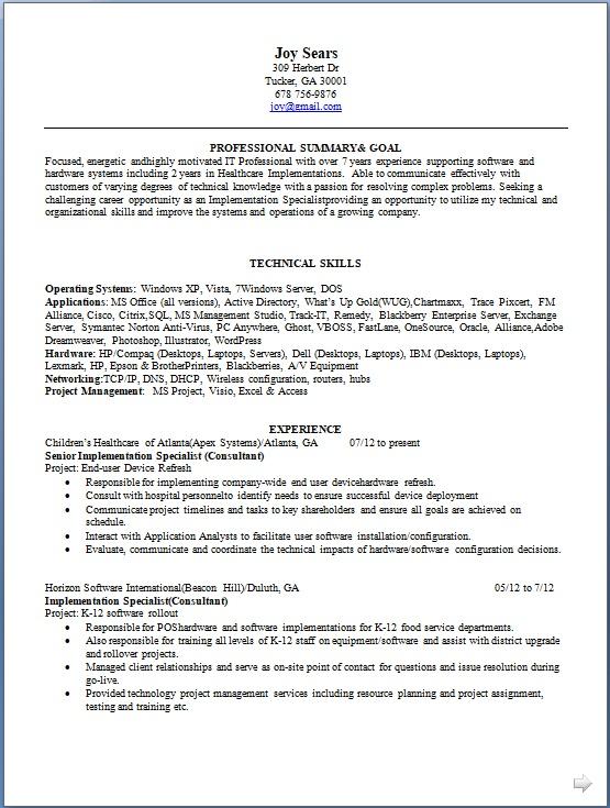 senior implementation specialist sample resume format in