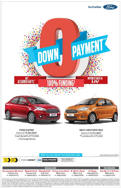 Ford cars with zero (0) down payment and 100% on road funding| January 2017 festival discount offers