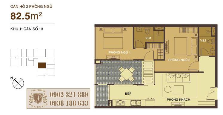 căn hộ 85.5m2 The Prince Residence