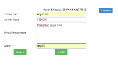 Aplikasi Cetak Kwitansi PHP MySQL