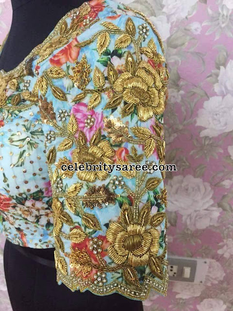 Floral Blouse with Zardosi Work