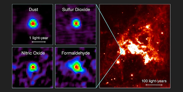 This figure shows observations of the first hot core to be found outside the Milky Way with ALMA and a view of the region of sky in infrared light.  Left: Distributions of molecular line emission from a hot molecular core in the Large Magellanic Cloud observed with ALMA. Emissions from dust, sulfur dioxide (SO2), nitric oxide (NO), and formaldehyde (H2CO) are shown as examples. Right: An infrared image of the surrounding star-forming region (based on data from the NASA/Spitzer Space Telescope).  Credit: T. Shimonishi/Tohoku University, ALMA (ESO/NAOJ/NRAO)