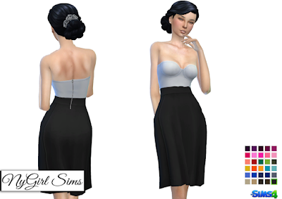 NyGirl Sims 4: Strapless  White Midi Dress with Colored Skirt