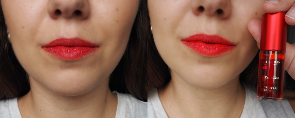 RECENZE - CLARINS WATER LIP STAIN (03 RED WATER) on lips