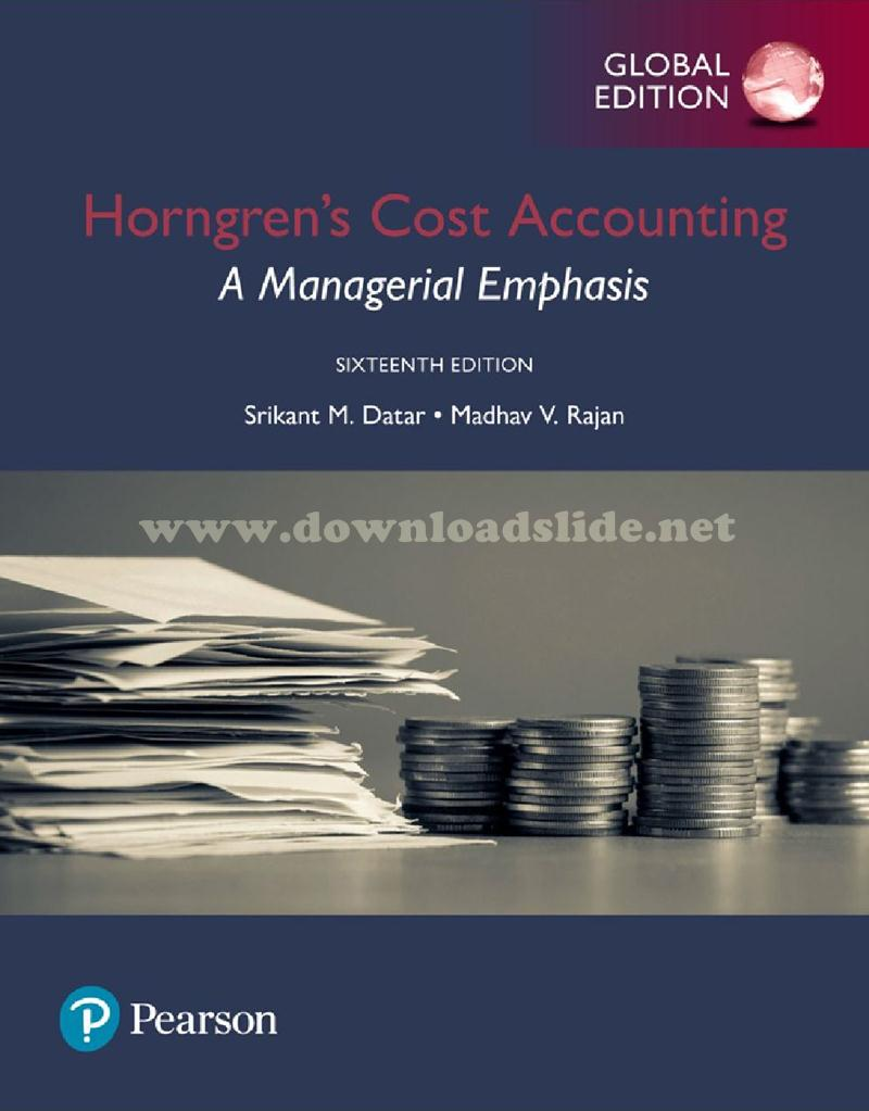 Ebook Cost Accounting 16th Edition by Horngren, Datar & Rajan (Global  Edition)