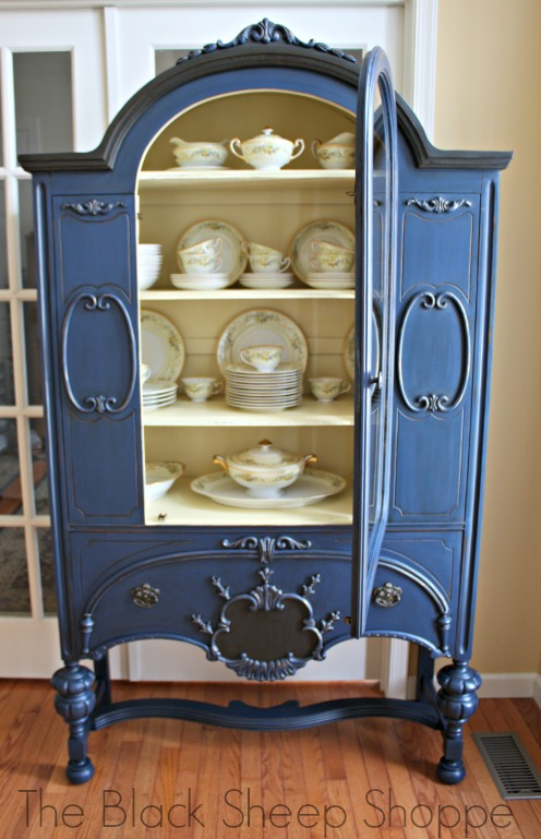 Painted in Napoleonic Blue with cream interior. Staged with a vintage set of Meito China.