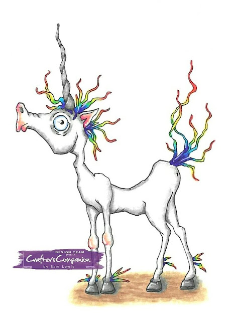 Quirky Unicorn by Bloobel Stamps. Coloured by Sam Lewis AKA The Crippled Crafter using Spectrum Noir Markers.