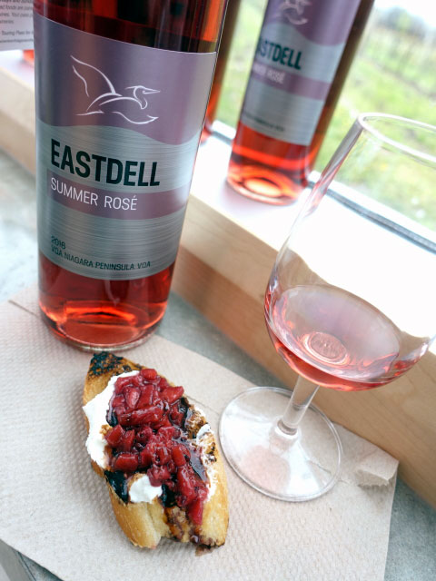EastDell Summer Rosé 2016 (86 pts) with strawberry & goat cheese bruschetta on grilled focaccia bread