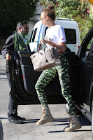 Irina Shayk in Tight Camouflage Leggings in West Hollywood