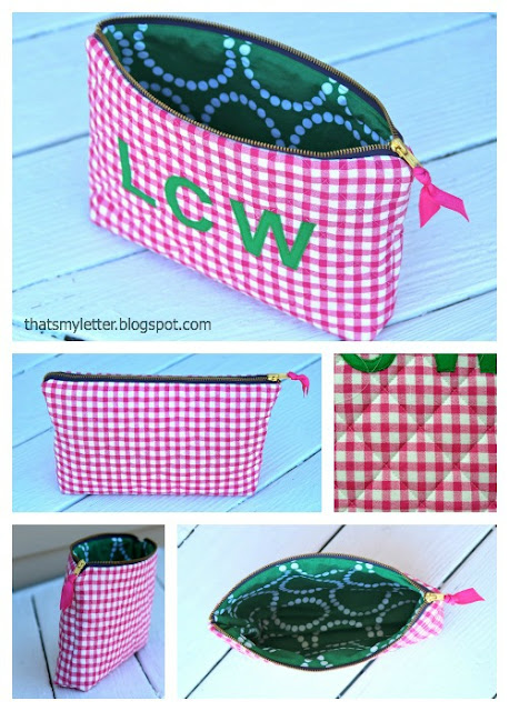 diy quilted gingham zipper pouch with monogram