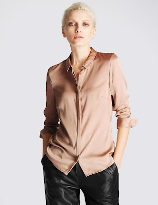 Marks and Spencer No Peep Silk Rich Button Through Blouse