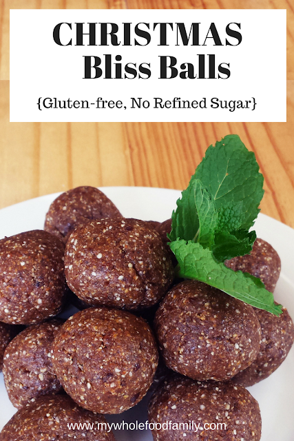 Christmas Bliss Balls - free from gluten, dairy and refined sugar - from www.mywholefoodfamily.com