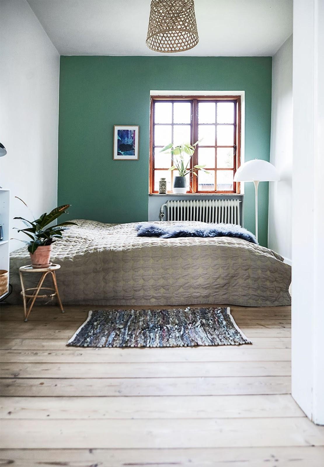 bedroom, green wall, scandinavian interior, carpet, nordic design, home decor