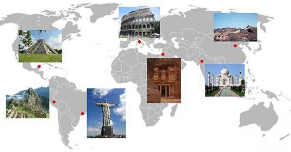 Mapa de las 7 maravillas del mundo moderno