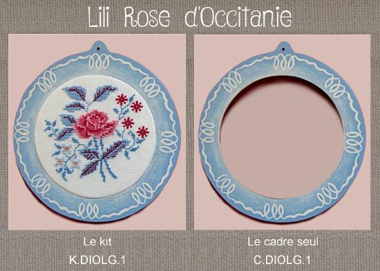 """Cadre bois peint rond """"Digoin"""" + grille assortie, broderie diamètre 10 cm. Broderie et point de croix"""